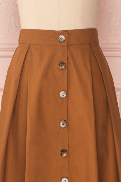 Linor Brown Button-Up High Waisted Skirt | Boutique 1861 2