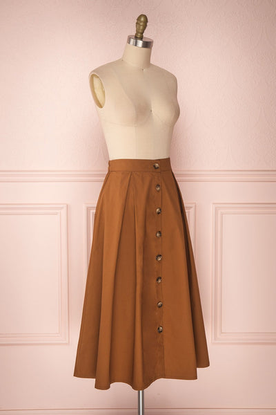 Linor Brown Button-Up High Waisted Skirt | Boutique 1861 3