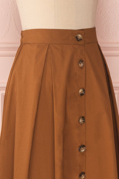 Linor Brown Button-Up High Waisted Skirt | Boutique 1861 4