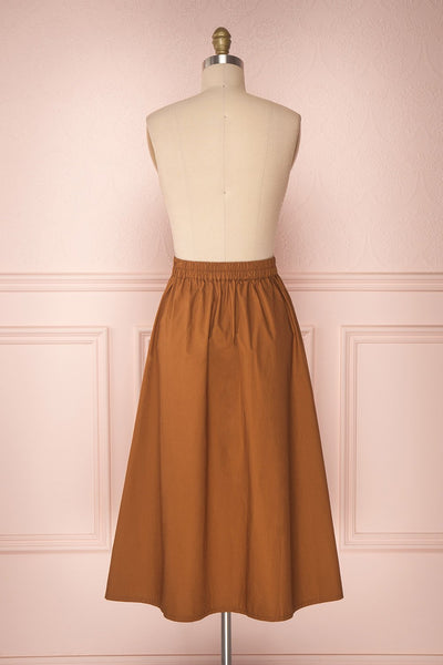 Linor Brown Button-Up High Waisted Skirt | Boutique 1861 5