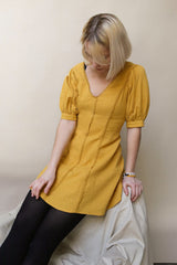 Liosia Mustard Yellow Puff Sleeved Summer Dress | La Petite Garçonne