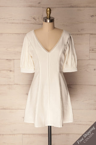 Liosia White Puff Sleeved Summer Dress | La Petite Garçonne