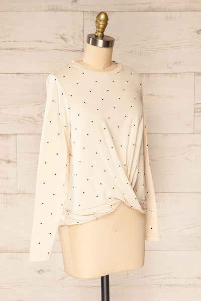 Liski Beige Polka Dot Knotted Top | La petite garçonne side view