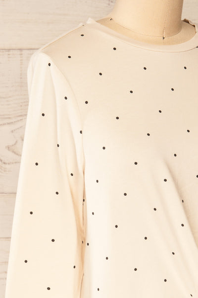 Liski Beige Polka Dot Knotted Top | La petite garçonne side close-up