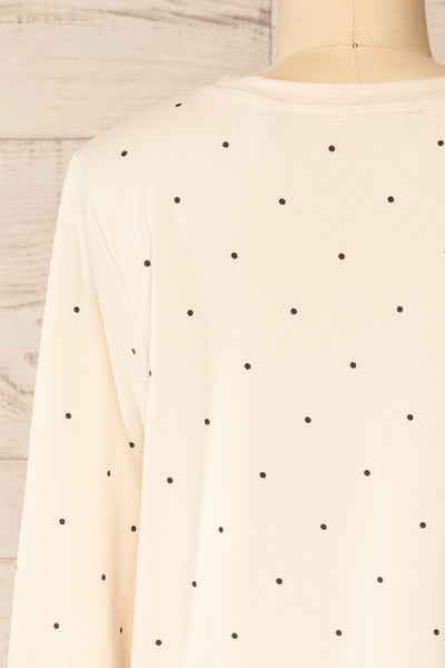 Liski Beige Polka Dot Knotted Top | La petite garçonne back close-up