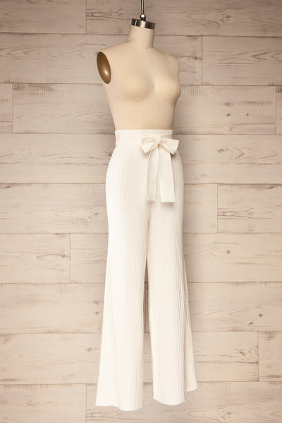 Livny Ivory Ribbed Wide Leg Pants | La petite garçonne side view