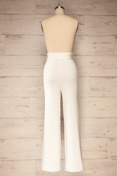 Livny Ivory Ribbed Wide Leg Pants | La petite garçonne back view