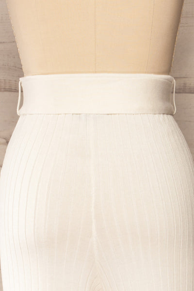 Livny Ivory Ribbed Wide Leg Pants | La petite garçonne back close-up