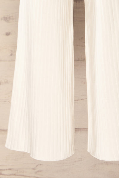 Livny Ivory Ribbed Wide Leg Pants | La petite garçonne bottom