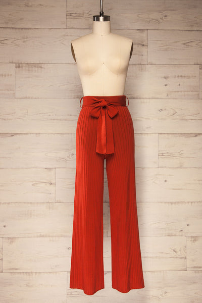 Livny Rust Orange Ribbed Wide Leg Pants | La petite garçonne front view
