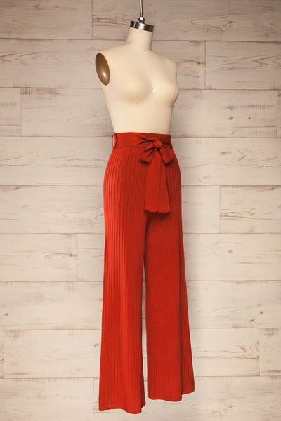 Livny Rust Orange Ribbed Wide Leg Pants | La petite garçonne side view