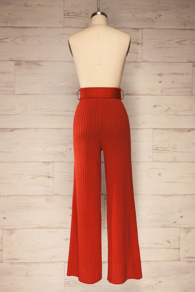 Livny Rust Orange Ribbed Wide Leg Pants | La petite garçonne back view