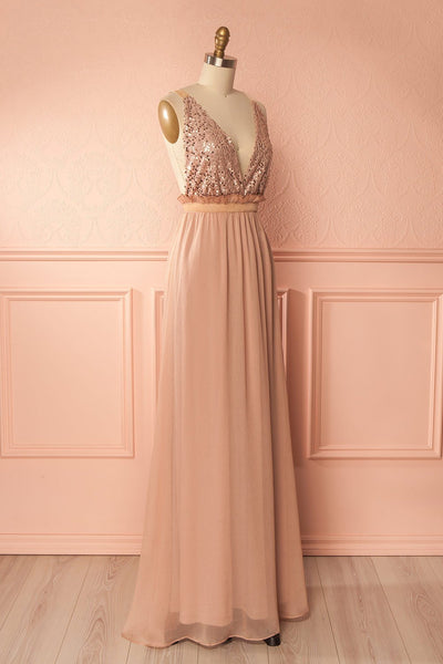 Liwei Douceur Taupe Sequin & Crepe Gown | Boutique 1861