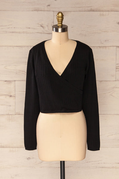 Lixa Black Faux-Wrap Long Sleeve Top | La petite garçonne front view