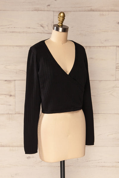 Lixa Black Faux-Wrap Long Sleeve Top | La petite garçonne side view