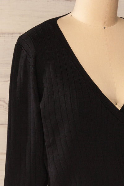 Lixa Black Faux-Wrap Long Sleeve Top | La petite garçonne side close-up