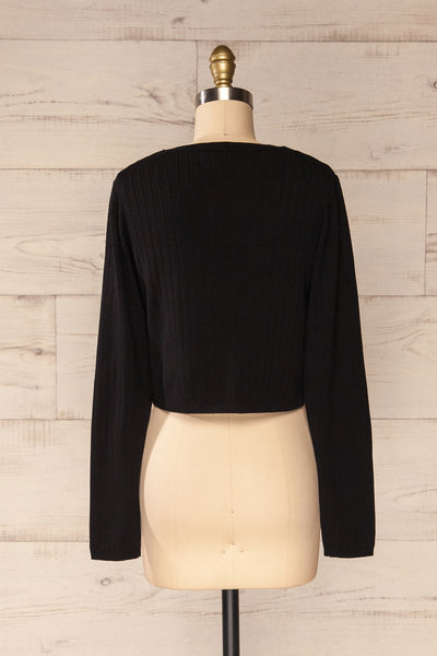 Lixa Black Faux-Wrap Long Sleeve Top | La petite garçonne back view