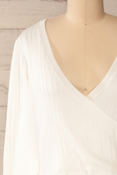 Lixa Ivory Orange Faux-Wrap Long Sleeve Top | La petite garçonne front close-up