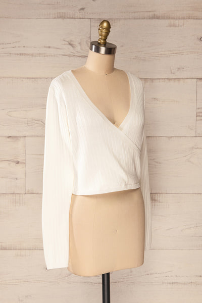 Lixa Ivory Orange Faux-Wrap Long Sleeve Top | La petite garçonne side view