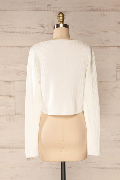Lixa Ivory Orange Faux-Wrap Long Sleeve Top | La petite garçonne back view