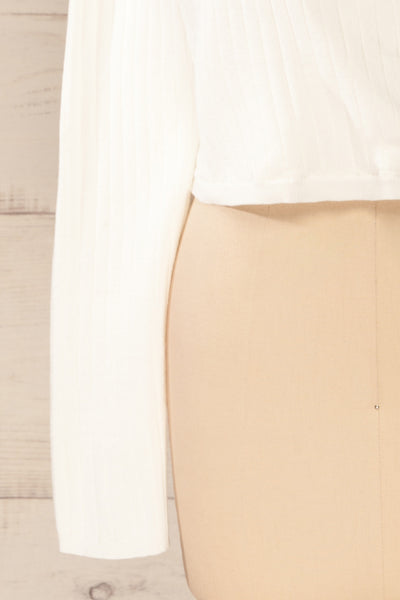 Lixa Ivory Orange Faux-Wrap Long Sleeve Top | La petite garçonne bottom