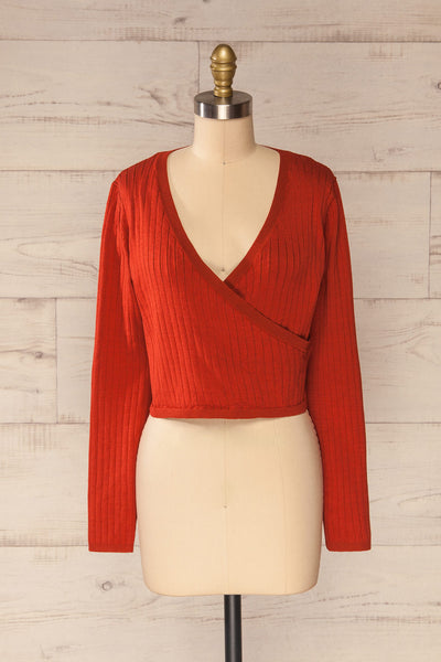 Lixa Rust Orange Faux-Wrap Long Sleeve Top | La petite garçonne front view