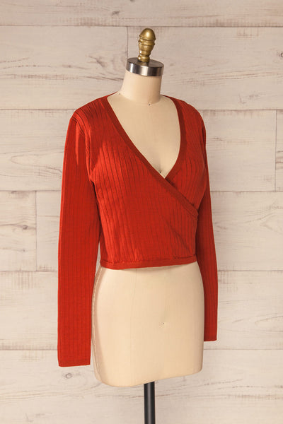 Lixa Rust Orange Faux-Wrap Long Sleeve Top | La petite garçonne side view