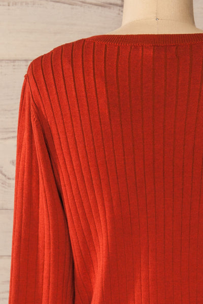 Lixa Rust Orange Faux-Wrap Long Sleeve Top | La petite garçonne back close-up
