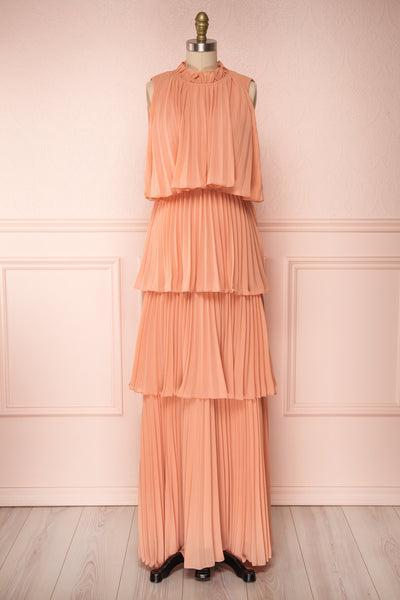 Lizbeth Coral Pleated Maxi Dress w/ Frills | La petite garçonne fabric