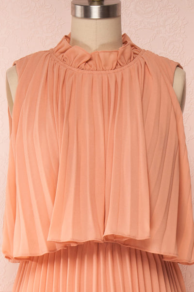 Lizbeth Coral Pleated Maxi Dress w/ Frills | La petite garçonne front close up