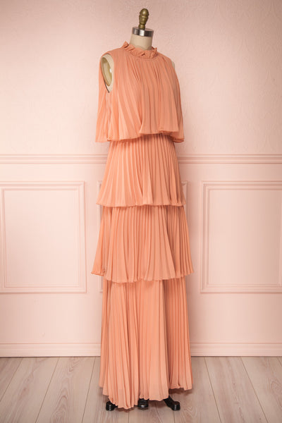 Lizbeth Coral Pleated Maxi Dress w/ Frills | La petite garçonne side view