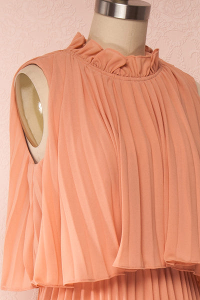 Lizbeth Coral Pleated Maxi Dress w/ Frills | La petite garçonne side close up
