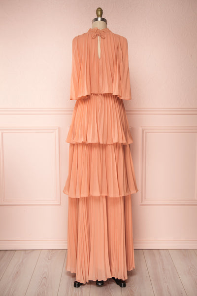 Lizbeth Coral Pleated Maxi Dress w/ Frills | La petite garçonne back view