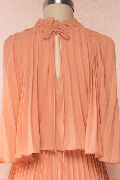 Lizbeth Coral Pleated Maxi Dress w/ Frills | La petite garçonne back close up