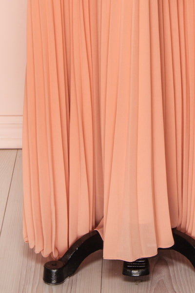 Lizbeth Coral Pleated Maxi Dress w/ Frills | La petite garçonne skirt