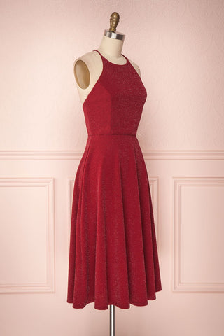 Lizzy Burgundy Sparkly A-Line Halter Dress | Boutique 1861