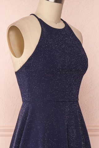 Lizzy Navy Blue Sparkly A-Line Halter Dress | Boutique 1861
