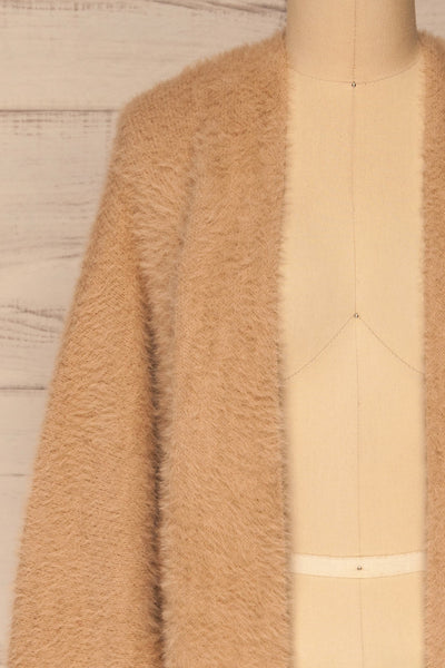 Lodzki Beige Long Fuzzy Cardigan | La petite garçonne  front close-up