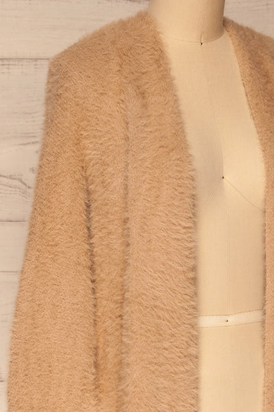 Lodzki Beige Long Fuzzy Cardigan | La petite garçonne  side close-up