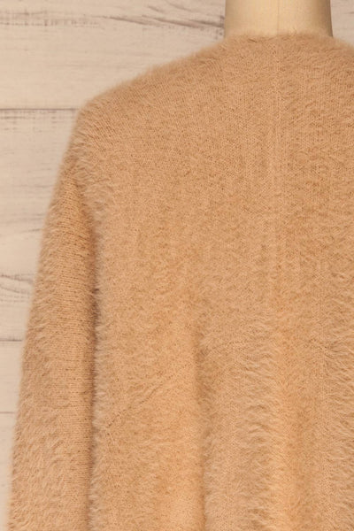 Lodzki Beige Long Fuzzy Cardigan | La petite garçonne  back close-up