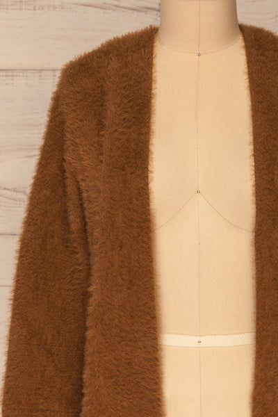 Lodzki Brown Long Fuzzy Cardigan | La petite garçonne  front close-up