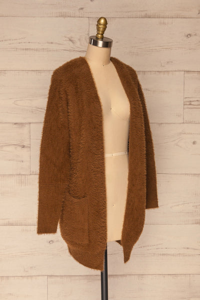 Lodzki Brown Long Fuzzy Cardigan | La petite garçonne  side view