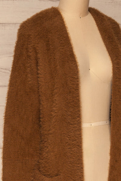 Lodzki Brown Long Fuzzy Cardigan | La petite garçonne  side close-up