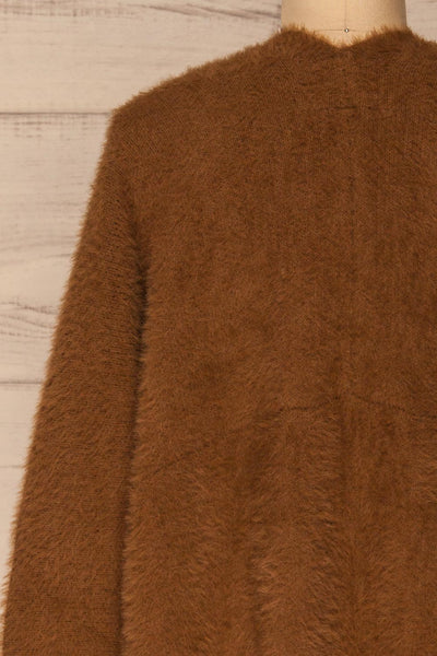 Lodzki Brown Long Fuzzy Cardigan | La petite garçonne  back close-up