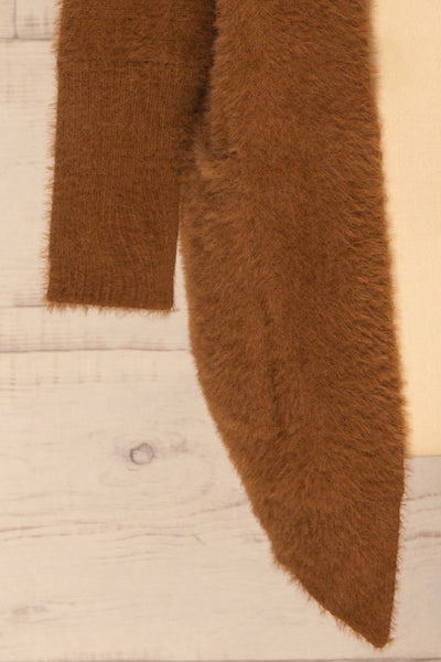 Lodzki Brown Long Fuzzy Cardigan | La petite garçonne  bottom