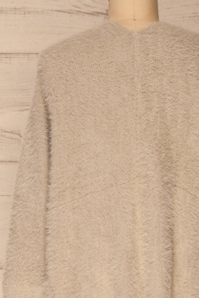 Lodzki Grey Long Fuzzy Cardigan | La petite garçonne  back close-up