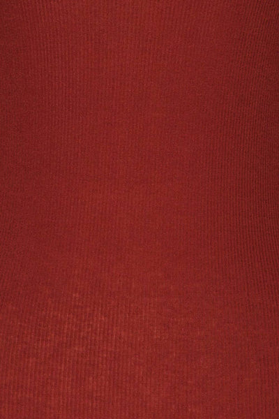 Loksa Brick Red Turtleneck | Haut Rouge fabric close up | La Petite Garçonne