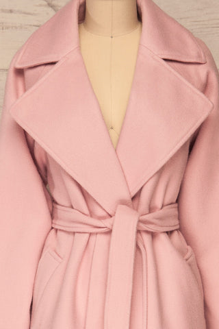 Lokvari Pink Long Felt Trench Coat | La Petite Garçonne front close-up