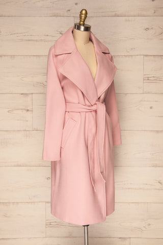 Lokvari Pink Long Felt Trench Coat | La Petite Garçonne side view
