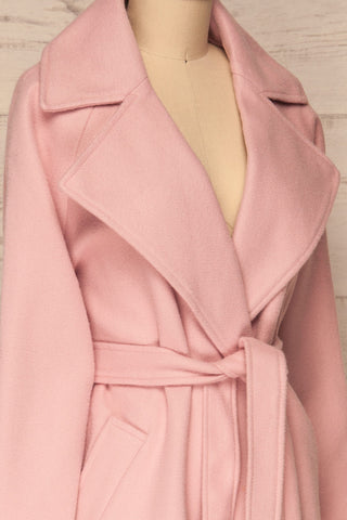 Lokvari Pink Long Felt Trench Coat | La Petite Garçonne side close-up